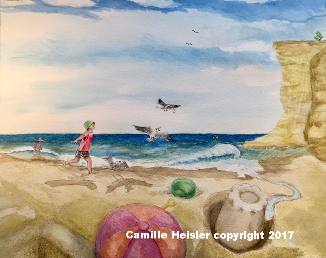 "James, and Lily at the Beach, from the book ""Exploring Soils: A Hidden World Underground"""
