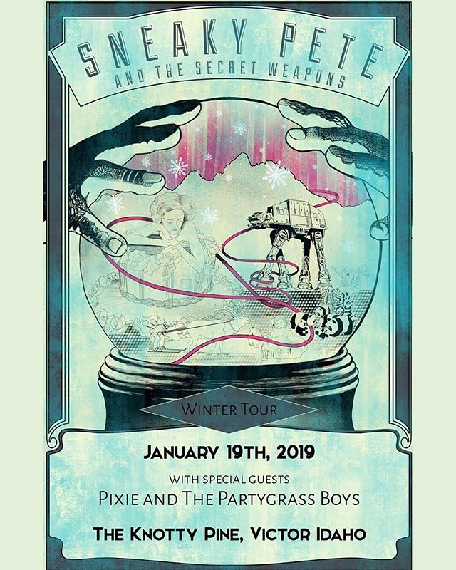 We are back and ready to get down extra hard with our Teton Valley people! Catch us on Jan 19th at the one and only Knotty Pine in Victor, ID with special guests @partygrassmusic 🎶 #SPSW #SneakyPete #WeBack #TetonValley #KnottyPine