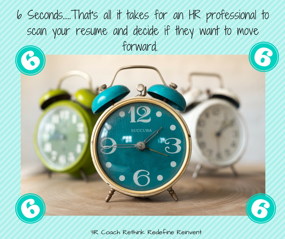 6 Seconds.....That's all it takes for an HR professional to scan your resume and decide if they want to move forward..jpg