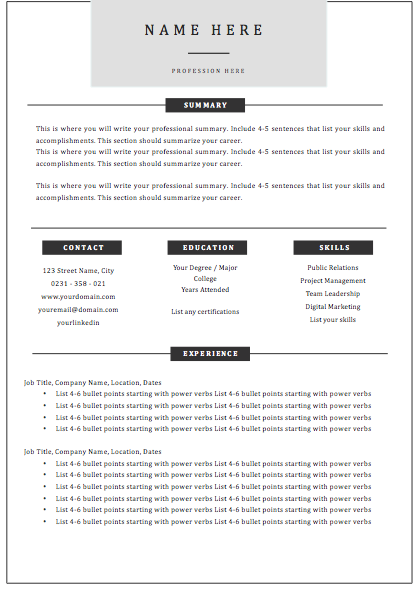 1 Page Template A -