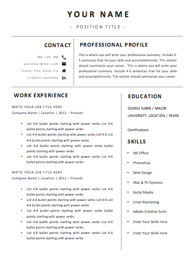1 Page Template C -