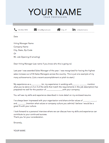Cover Letter Template D -