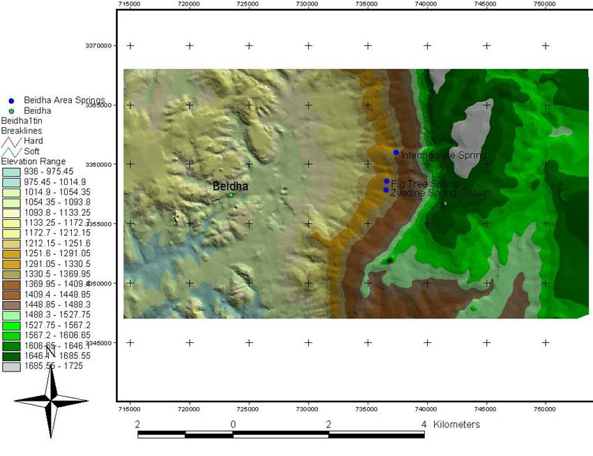 Beidha Elevation Model labeled.jpg