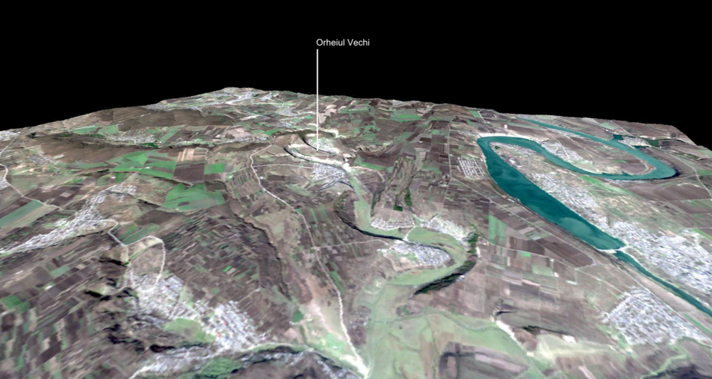 Landsat Image over ASTER 3D - Orheiul Vechi.png