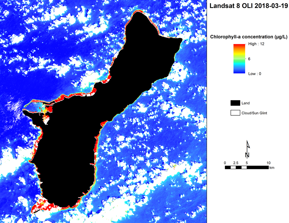 Example of nutrient detection around Guam.