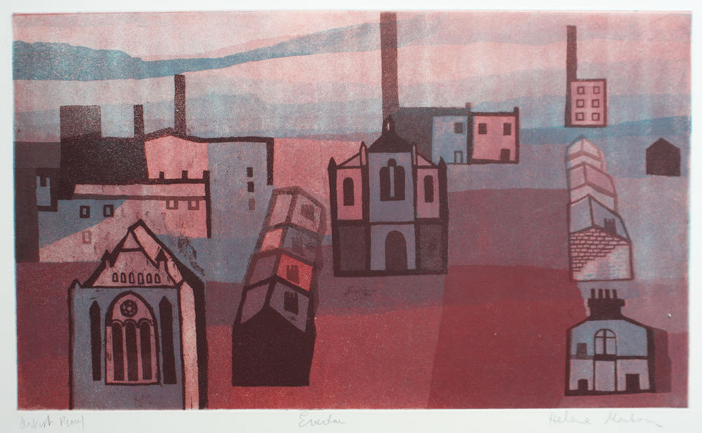 Everton from Browside 1964-5 etching and aquatint