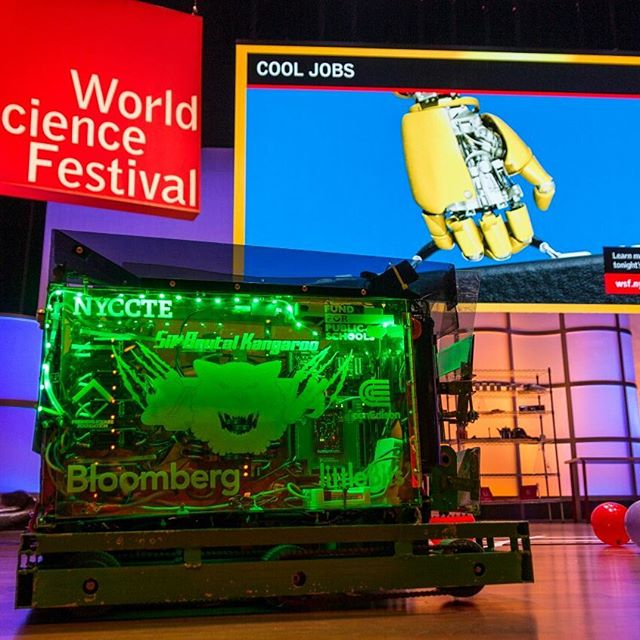 At the World Science Festival we taught kids about circuits, paper rockets, Sir Brutal Kangaroo and of course FIRST Robotics. Our robot was also featured on the cool jobs show. @queensvoc @worldscifest @nycfirstrobotics #STEMAwarness #firstrobotics