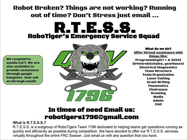Proud to announce that we will be offering R.T.E.S.S. throughout the FRC build season. 🎉 👩🏽‍🔧👨🏼‍🏭👩🏼‍💻 #nycfirstrobotics #robotigers1796 #frc2018 #emailus #helpingourFIRSTcommunity