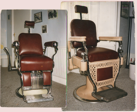 1985: Aidan's living room barbershop. Chairs from Big George in Brixton