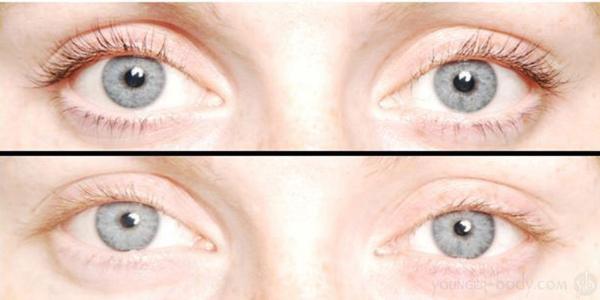 Before and after eyelash tinting.