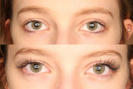 Eyelash extensions before and after.
