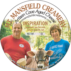 Mt. Mansfield Creamery - MORRISVILLE, VTWe milk our own Holstein & Brown Swiss cows to produce a number of raw milk cheeses using recipes with European origins. Our cheeses are aged a minimum 60 days in our own cheese cave. The cheese facility is in the heart of Morrisville, in the old United Farmers Creamery building. Not only did we renovate the building, but we built our own cheese cave in the basement. We wash and brush the rinds to keep them thin to ensure our product to be one hundred percent edible. Our French cheese is regularly washed using seasonal beers from local breweries, Rock Art and Vermont Pub and Brewery.