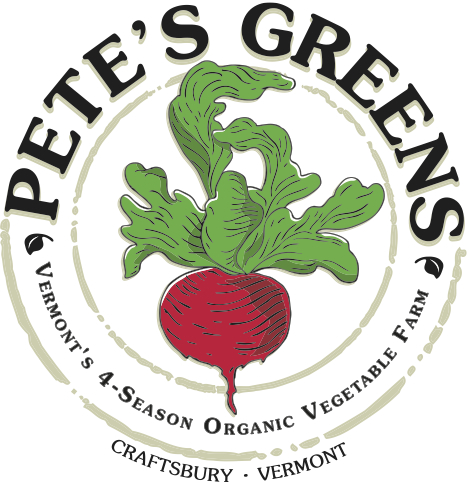 Pete's Green - CRAFTSBURY, VTPete's Greens is a certified organic, four-season vegetable farm located on the edge of Vermont's Northeast Kingdom. Our farm was started by Pete Johnson in 1995. We believe whole-heartedly that, as more Vermonters eat locally, we will become healthier as communities and as individuals. Foods grown locally and in-season are also more nutritious and taste better, and eating them connects us to our place and to our present time of year.