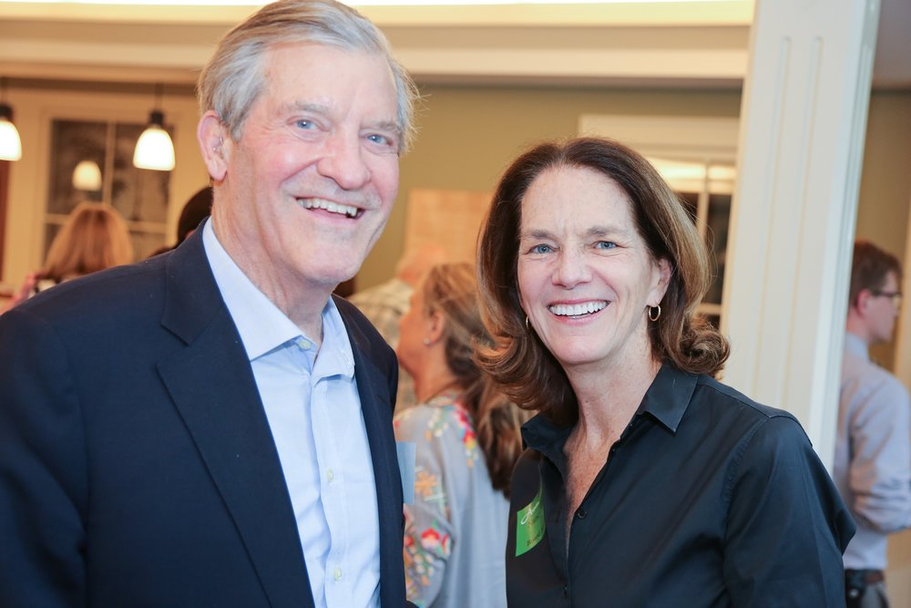 Aspetuck Land Trust member David Storrs with board member Nancy Moon.
