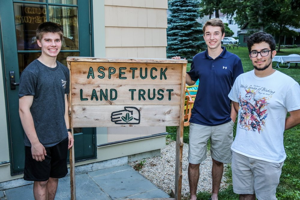 Owen Harlacker (age 14, Fairfield Warde), Jackson Hemphill (age 17, Fairfield Ludlowe), Jory Teltser (age 17, Staples HS, Westport), all vital members of Aspetuck Land Trust's Land Management Committee.