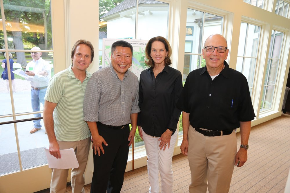 David Brant, Aspetuck Land Trust Executive Director; Tony Hwang, State Senator;  Nancy Moon, Board of Directors; Don Hyman, Aspetuck Land Trust Board President.