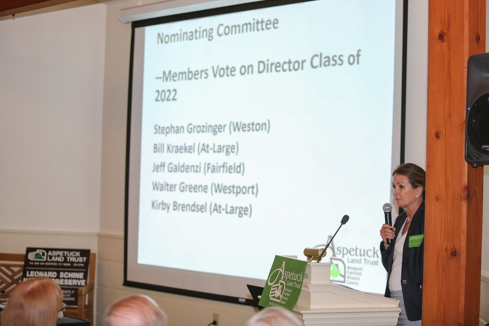 Nominating Chair, Aili DiBonaventura presenting the Class of 2022 for a vote by the members.