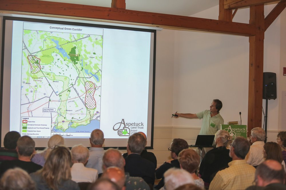 Executive Director, David Brant showing the Green Corridor on the map.