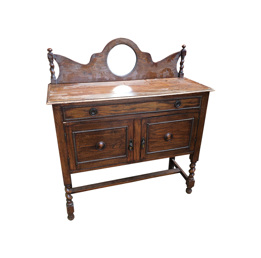 Oak Sideboard with mirror in up stand, barley twist features on legs and up stand.