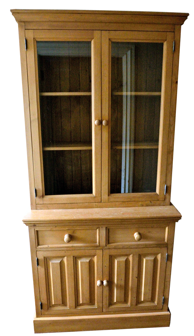 Very solid pine dresser with glazed top unit.