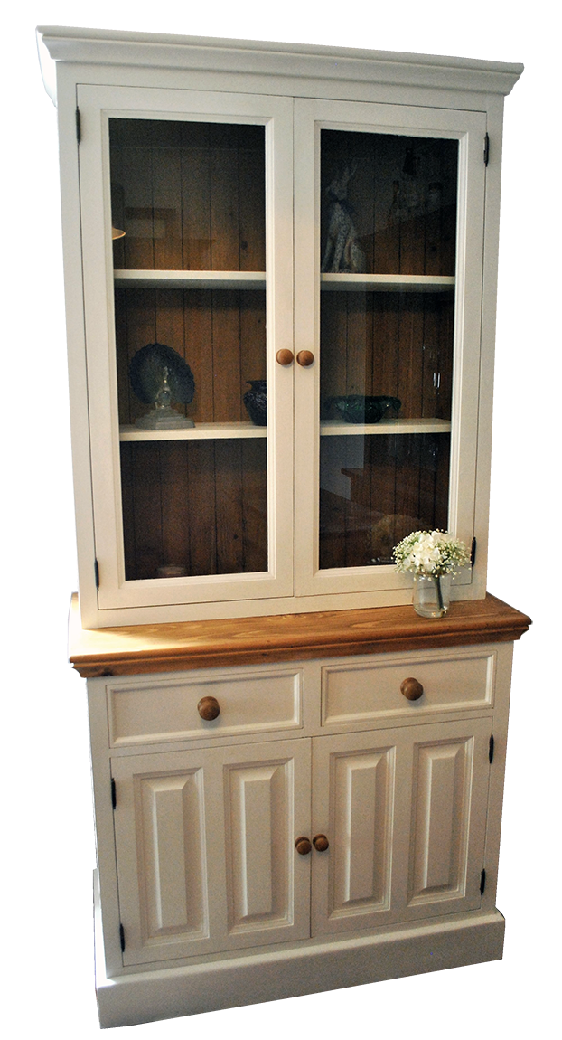 We decided to keep this transformation simple, and retaining its already elegant look. Painting the main body and cupboard in Frenchic 'Ivory Tower', but leaving the top, cupboard back and handles as natural pine, although these were sanded back removing the old wax and resealed with Danish oil and finished with clear wax and buffed. Giving the piece a 'Shaker' style.