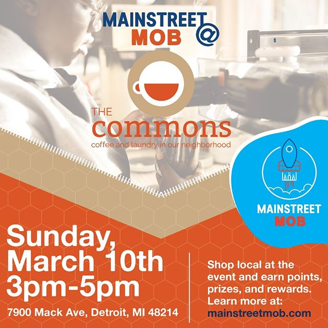 Come celebrate The Common's 1-Year Anniversary during the inaugural Mainstreet Mob @iammainstreet #cashmob event on March 10th from 3pm to 5pm!  At Mainstreet Mobs members earn prizes and other perks for participating.  You can join and RSVP free at www.mainstreetmob.com.