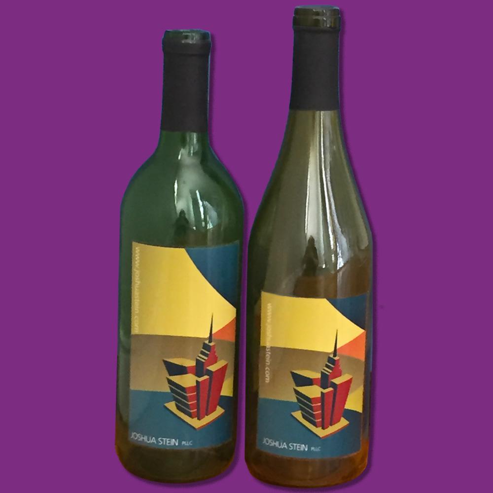 Custom designed labels for red and white wine bottles