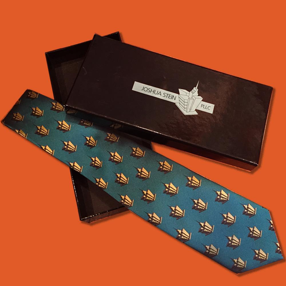 Custom designed necktie and box