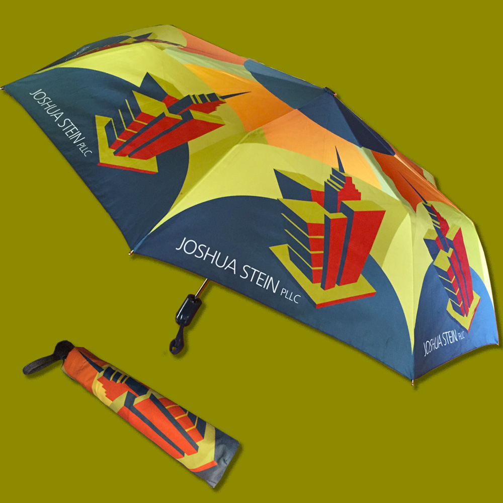 Umbrella as produced, open & encased
