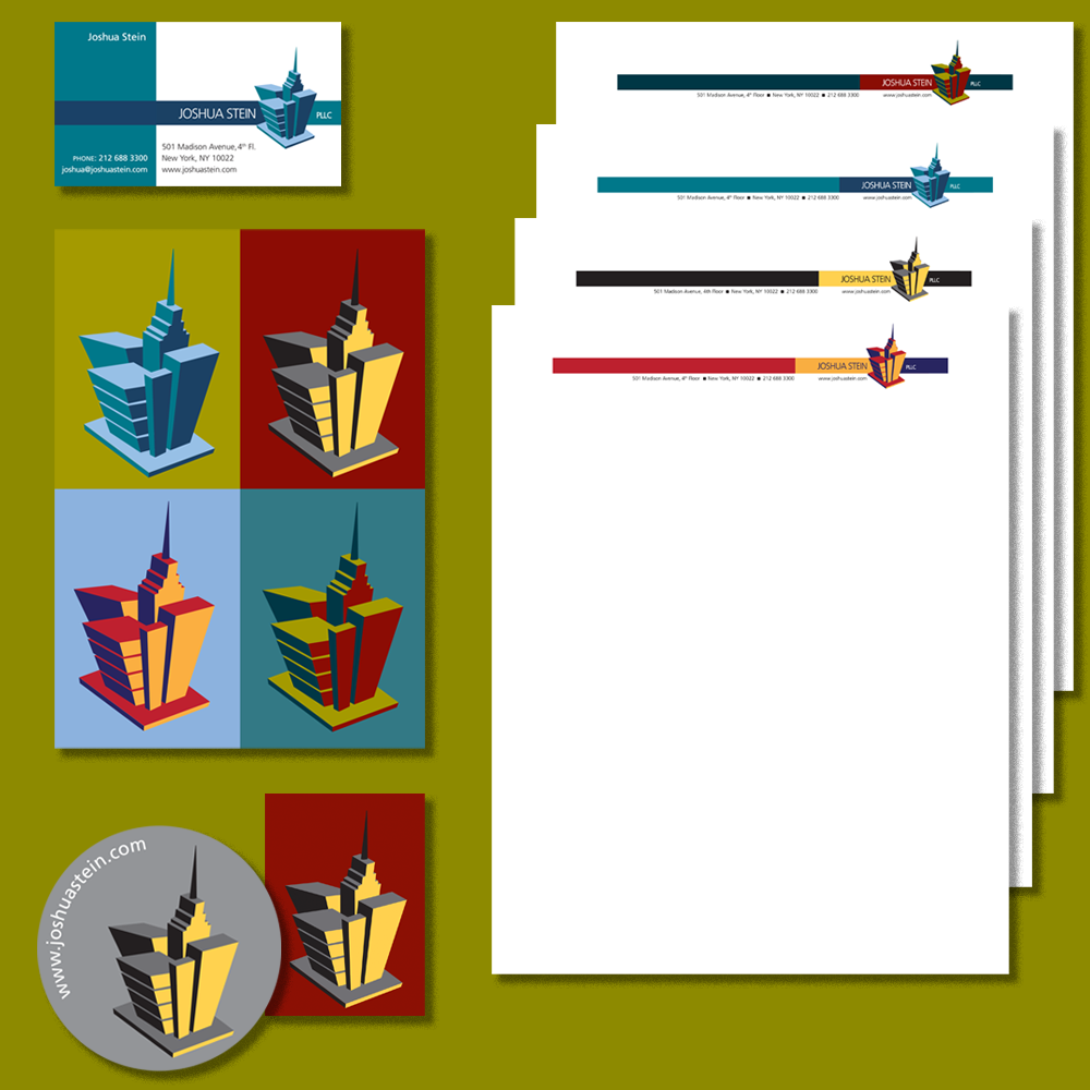 Business Collateral: Clockwise from upper left: business card, stationery in all four color combinations, labels, announcement card