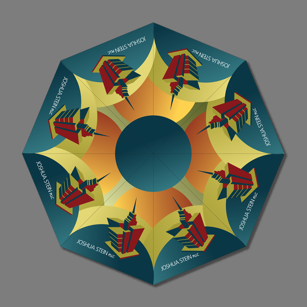 Segments of umbrella, created in Adobe Illustrator, assembled for production