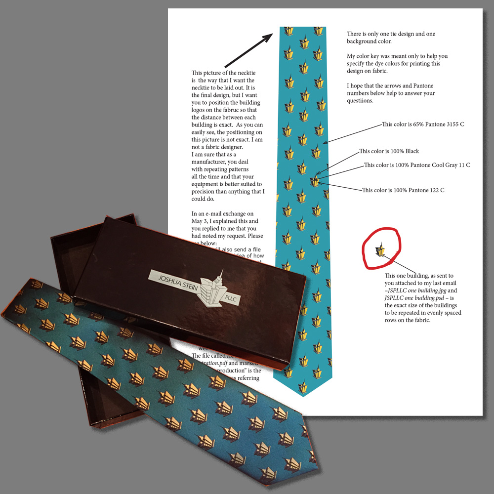 Instructions for production of necktie