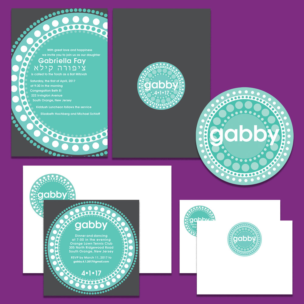 Bat Mitzvah invitation printed front and back; event logo; matching envelope and party enclosure card; flat notecard with matching envelope