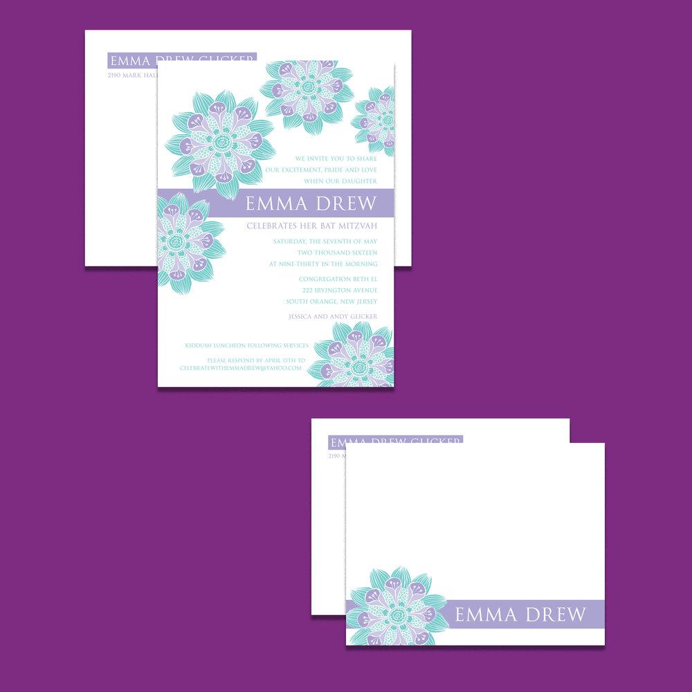 Bat Mitzvah invitation with matching envelope; flat notecard with matching envelope