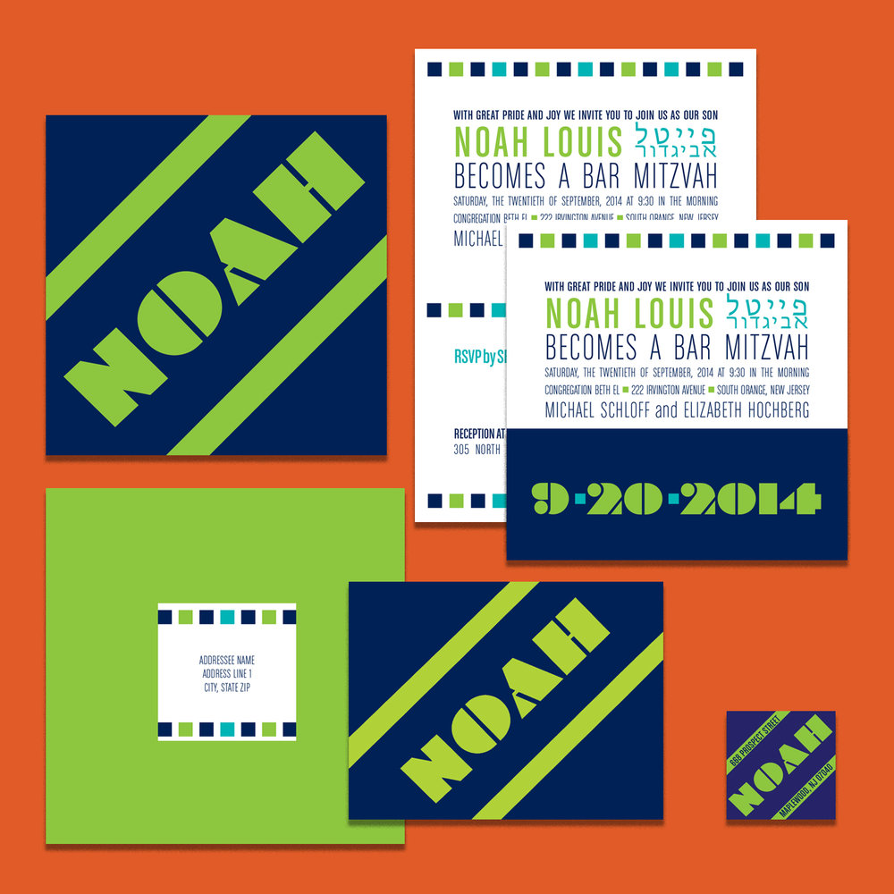 Bar Mitzvah invitation printed on front and back, shown open and folded into a square; square envelope with printed mailing label, folded notecard, return address label