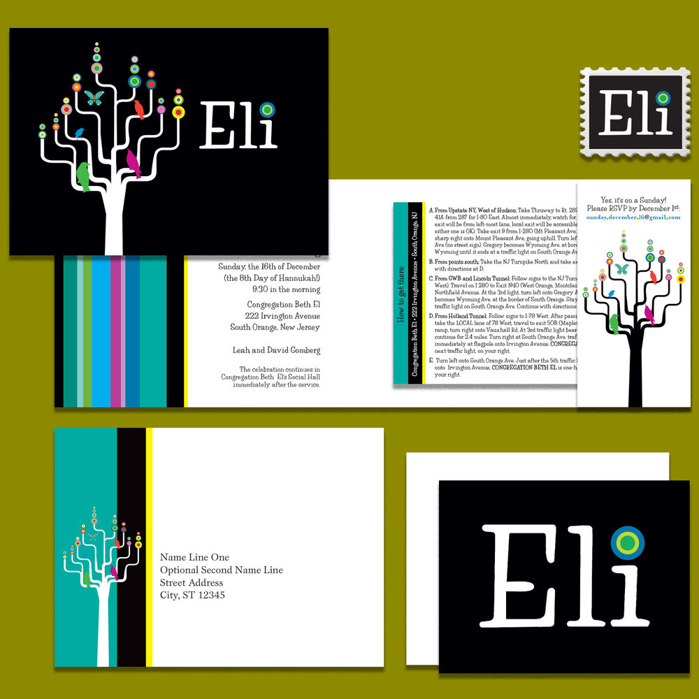 Folded Bar Mitzvah invitation with pocket and enclosure; custom stamp, printed envelope; notecard with envelope