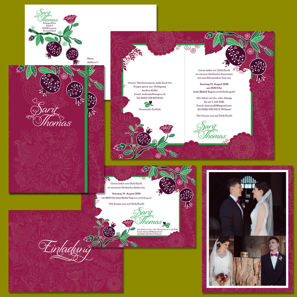 Asymmetrically folded wedding invitation, matching envelope; cocktail party invitation printed both sides; note card