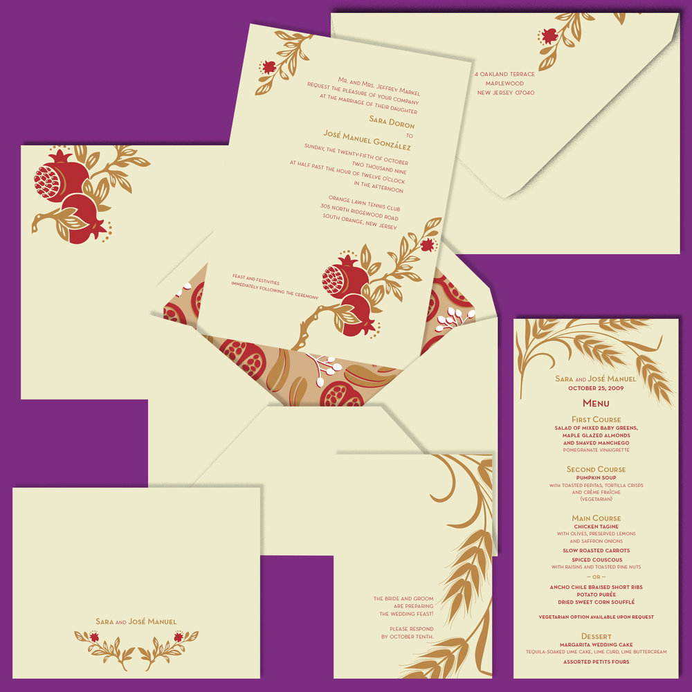 Wedding Invitation, printed and lined envelope, response card, folded notecard and menu