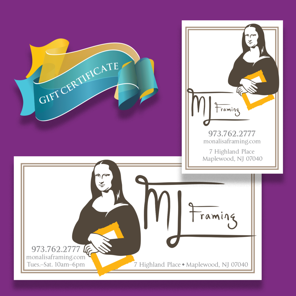 Gift certificate artwork; Label designs