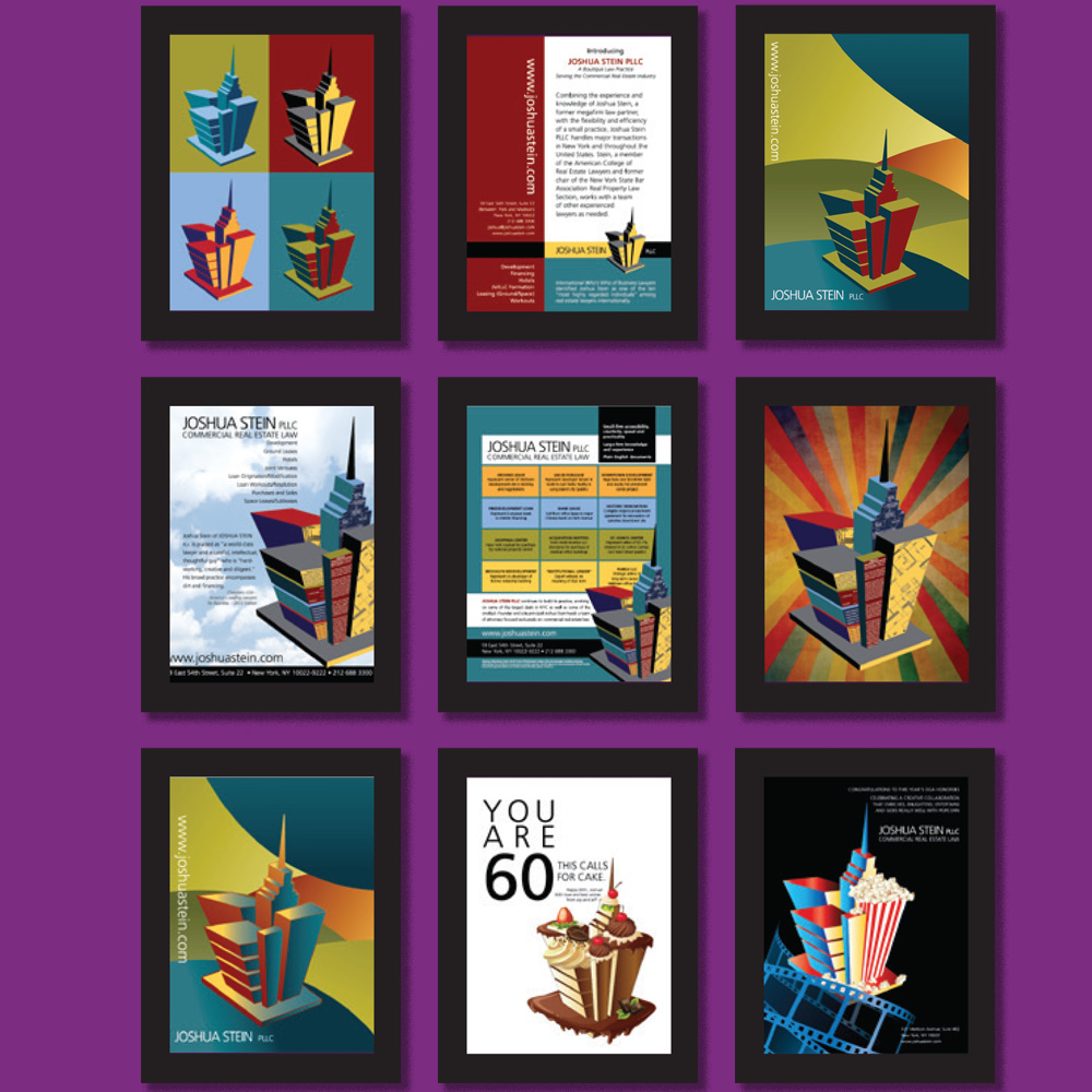Framed grouping of various designs for display on office walls of Joshua Stein, PLLC: greeting cards, note cards, ads and posters