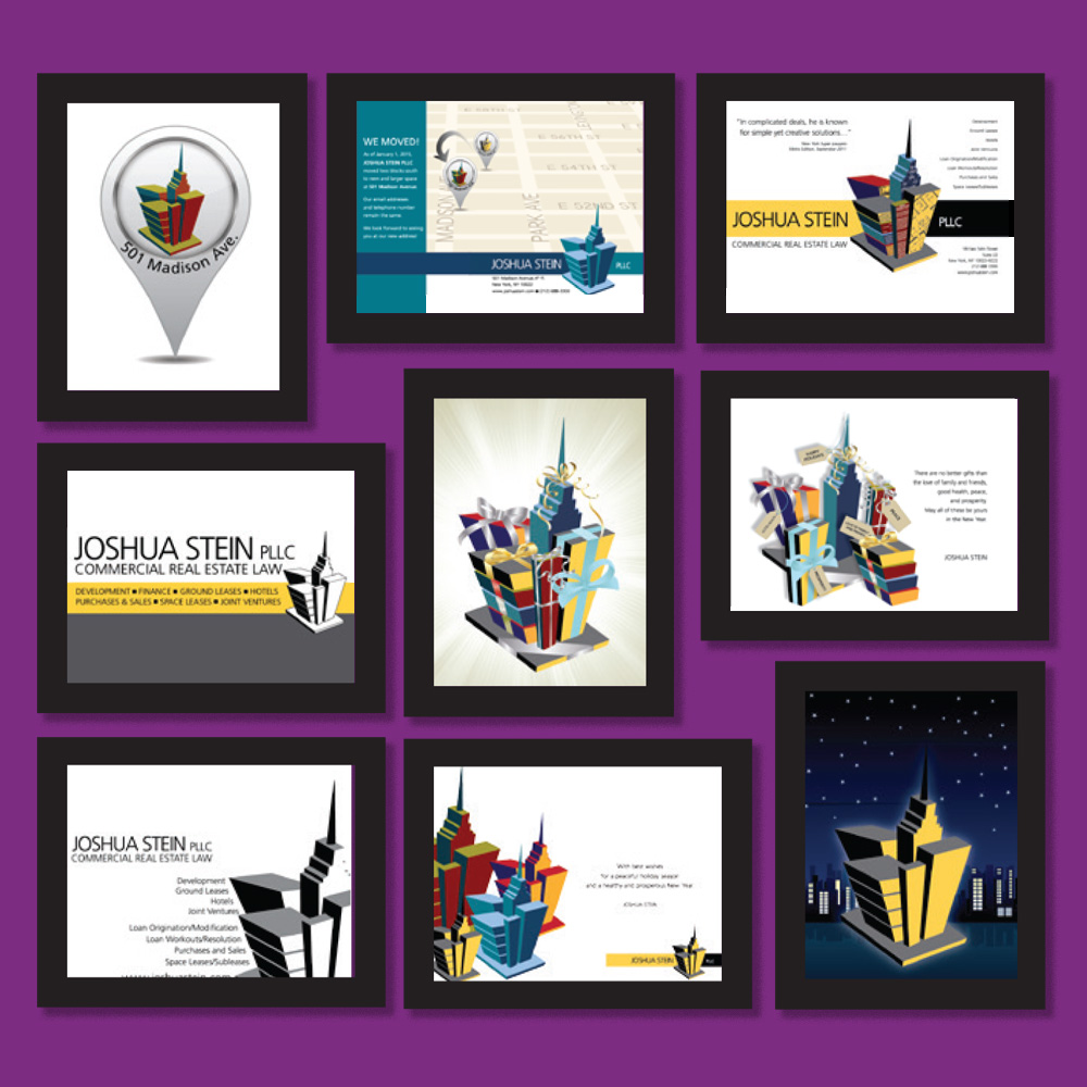 Additional framed designs for the office walls of Joshua Stein, PLLC.