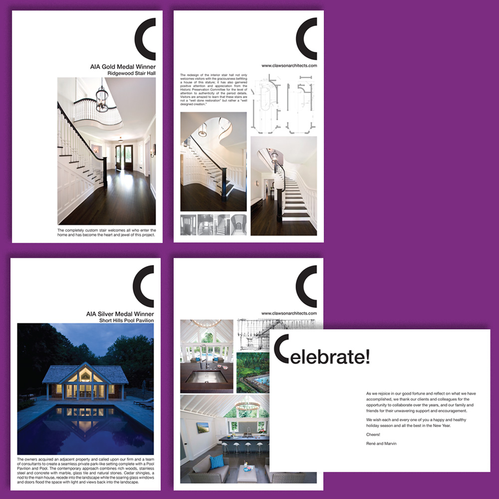 "Inserted announcement cards (front and back), inserted ""Celebrate"" holiday card"