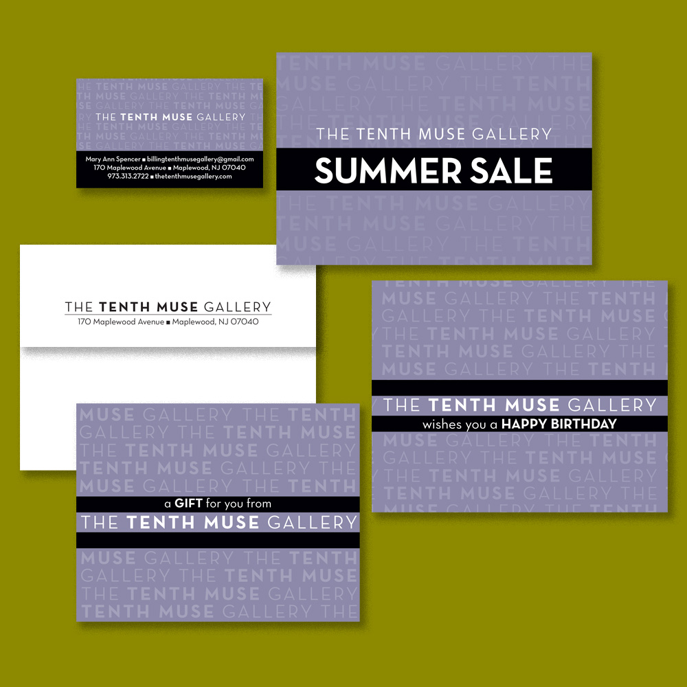 Business card, sale postcard, gift card and envelope, birthday club card