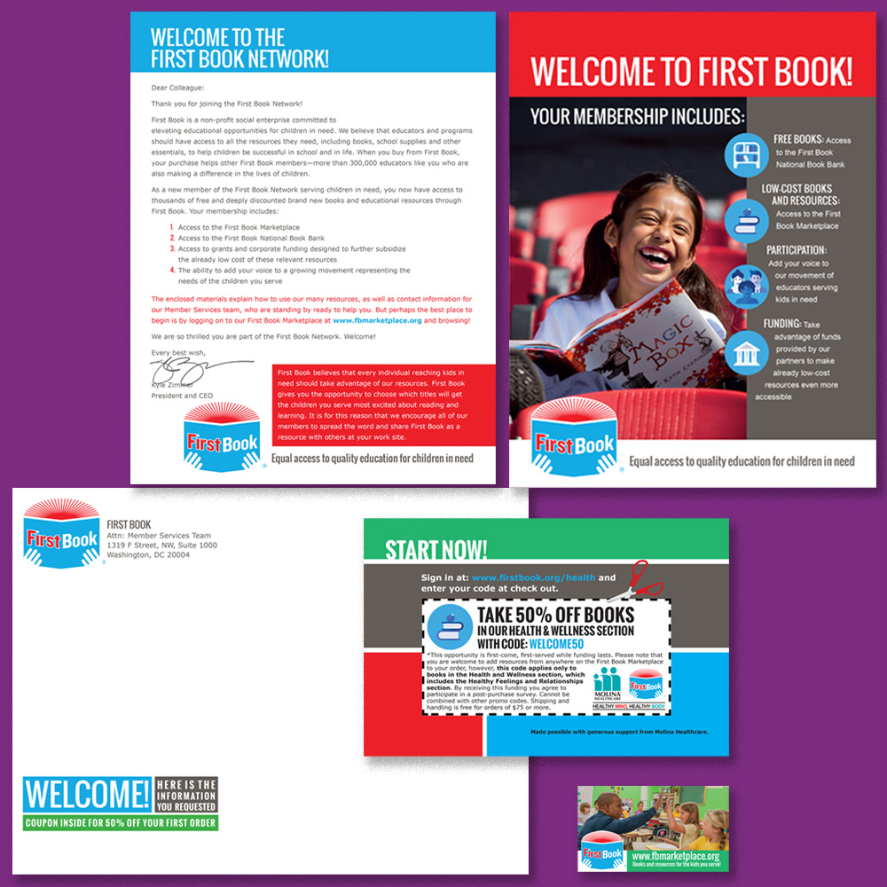 Complete mailing package including folded brochure, cover letter, magnet, which was attached via fugitive glue to the upper right of the cover letter, mailing envelope and coupon