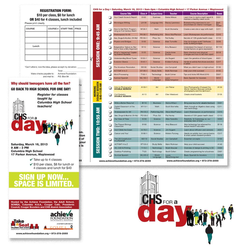 Materials created for CHS for a Day, an event organized by the Achieve Foundation: logo and schedule design