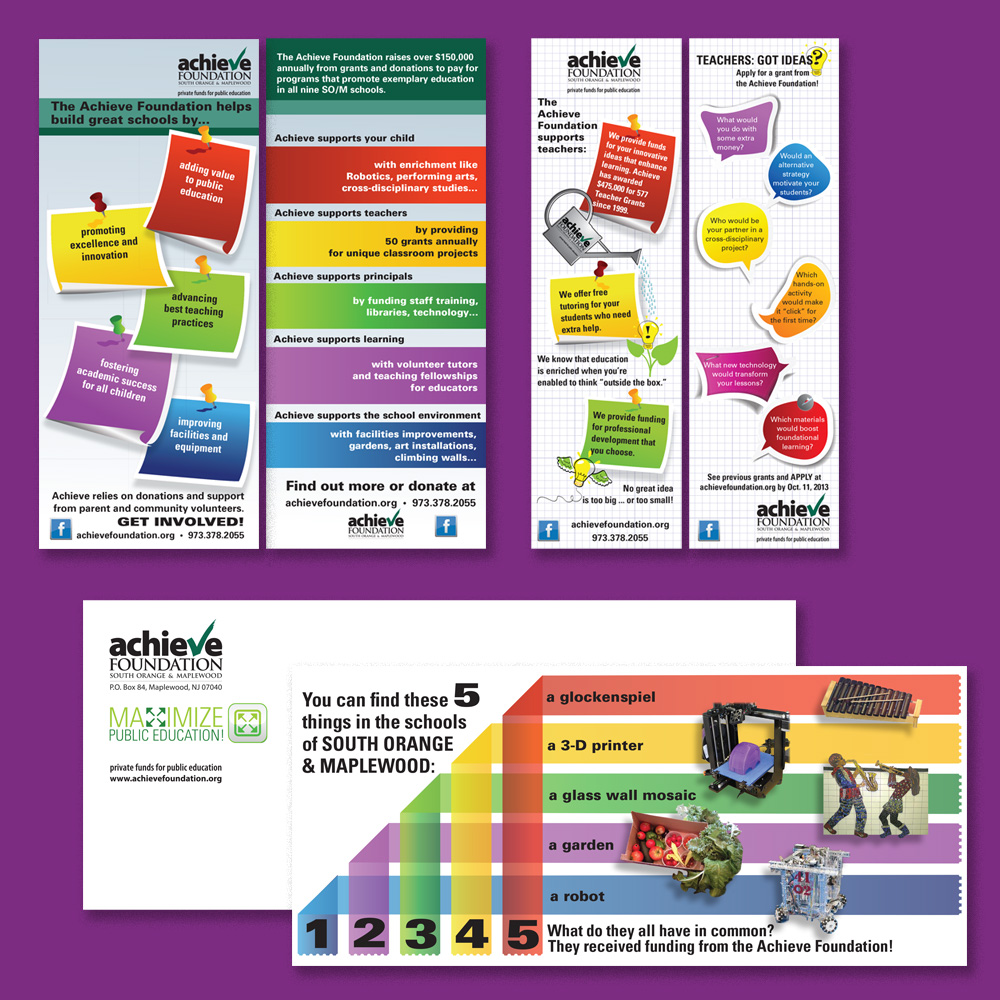 Marketing items: two-sided bookmarks; fundraising insert and envelope