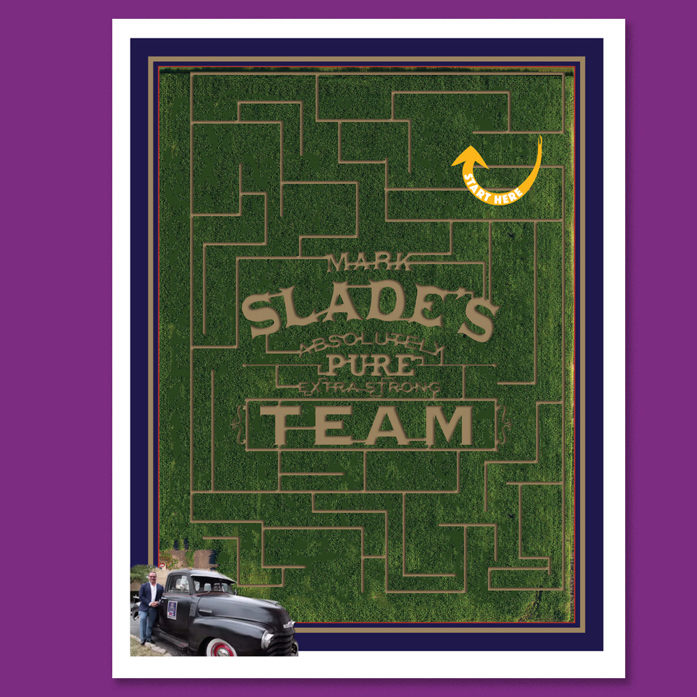 Slade logo as corn maze