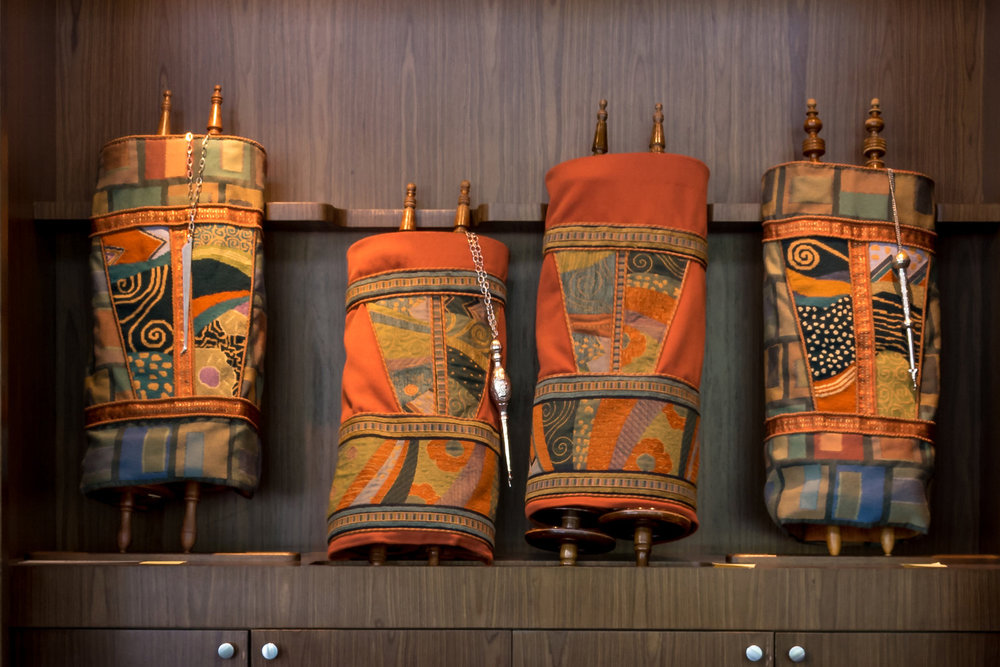 All four Chapel Torah mantles: the product of two summers! Photo by Joy Yagid.