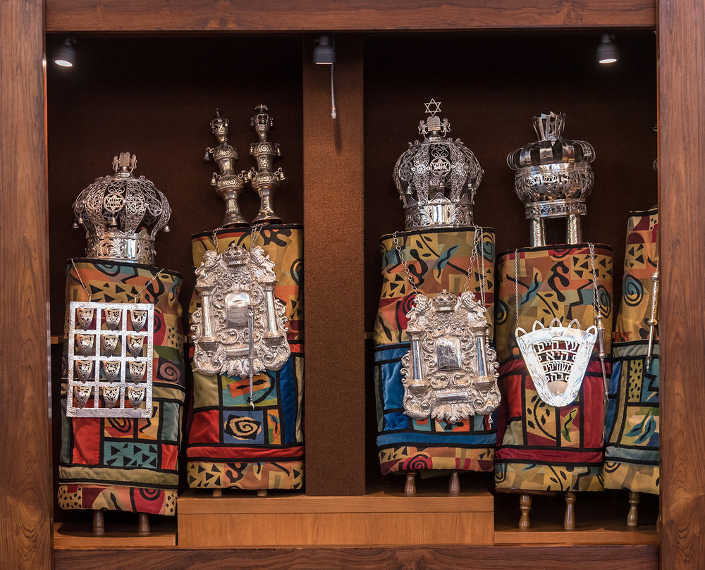 All five Torah mantles, as they look when the Ark is open. Photo by Joy Yagid.