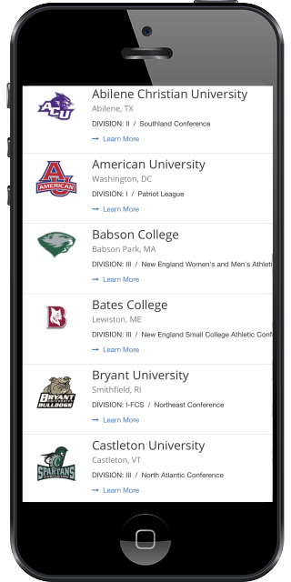 Choose your target schools from every college at your fingertips.